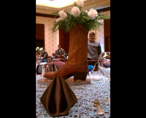 Themed Events - Houston, TX - centerpiece boot